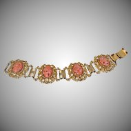 Vintage Peach Confetti Rhinestone Cabochon Bracelet. Heavy Mid Century Oval Peach Cabochon Bracelet.