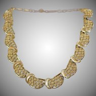 Vintage Coro Necklace. Textured Gold 1950s Coro Choker Necklace.