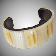 Vintage Bone and Ebony Horn Cuff Bracelet. African Tribal Bone Cuff Bracelet.