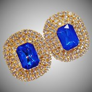 Vintage Showstopper Large Blue and Clear Rhinestone Earrings. Clear and Blue Channel Set Rhinestones.
