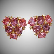 Vintage Ciner Pink Purple Rhinestone Earrings. Glass Pink and Purple Rhinestone Earrings by Ciner.