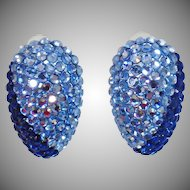 Vintage Two Tone Large Dark and Light Blue Rhinestone Earrings. Aquamarine and Sapphire Blue Rhinestone Earrings.