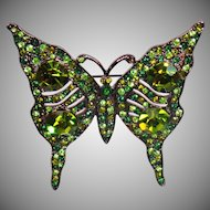 Vintage Kenneth J. Lane Butterfly Brooch. KJL Green Rhinestone Butterfly Pin. Signed Kenneth Lane Green Butterfly Brooch.