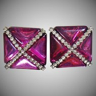 Vintage Showstopper Amethyst Purple X Earrings. Purple Amethyst Triangle and Channel Set Clear Rhinestone X Earrings.
