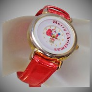 Vintage Red Christmas Watch. Women's Santa Claus Watch. Merry Christmas Motion Watch.