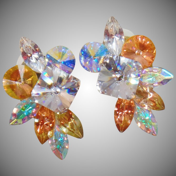 Vintage Huge Swarovski Gl Rhinestone Earrings Large Clear And Champagne Bold 80s