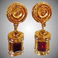 Vintage Rare Marie Paris Haute Couture Gripoix Earrings. Gold Plated Faux Ruby Glass and Clear Rhinestone Earrings.