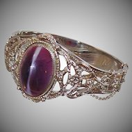 Vintage Whiting and Davis Purple Banded Agate Glass Cabochon Bracelet. Whiting and Davis Bangle. Silver Plated Clamper Bracelet.