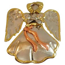 Vintage Mixed Metal Angel Brooch Pendant. Large. Copper Brass Silver Tone Angel Pin. Holiday Pin. Christmas Jewelry.
