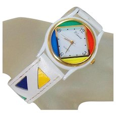 Vintage Vienna Color Block Ladies Watch. White Leather Vienna Colorblock Ladies Watch. Women's Watch.