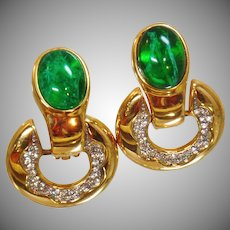 Vintage Swarovski Green Flawed Emerald and White Diamond Earrings. Gold Plated Flawed Emerald and Clear Rhinestone Doorknocker Earrings