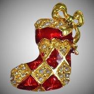 Vintage Rhinestone Christmas Stocking Brooch. Vintage Christmas Stocking Pin. Red Gold Rhinestone Christmas Stocking Brooch.