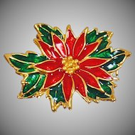 Vintage Red and Green Poinsettia Brooch. Red Green Enamel Flower Pin. Christmas Brooch. Holiday Pin.