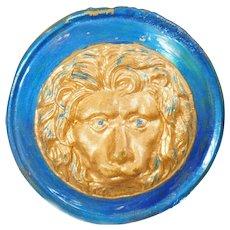 Vintage Art Deco Blue Lion Brooch. Gilt Plated Aqua Blue Lion Pin. Large 1920s Lion Brooch.