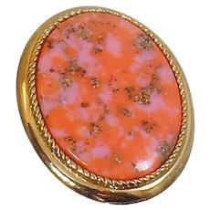 Vintage Coraline Confetti Stone Brooch and Pendant. Rare Sarah Coventry Coral Stone Pin. Gold Pink Stone Brooch and Pendant.
