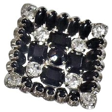 Vintage Square Black and Clear Rhinestone Brooch. Marquise and Emerald Black & Clear Rhinestone Pin.