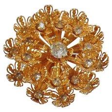 Vintage Large Gold Clear Rhinestone Snowflake Brooch. Filigree Flower Gold and Clear Rhinestone Snowflake Pin.