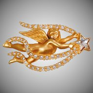 Vintage Swarovski Cherub Brooch. Swarovski Crystal Shooting Star Cherub Angel Pin. Baby Cherub Rhinestone Brooch. Angel Pin.