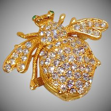 Vintage Joan Rivers Bee Watch Brooch. Rare Book Piece. Rhinestone Flying Insect Watch Pin. Crystal Bug Watch Pin.