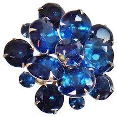 Vintage Deep Dark Blue Rhinestone Brooch. Montana Blue Rhinestone Cluster Pin. Stacked 3-D Blue Rhinestone Brooch.
