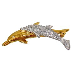 Vintage Swarovski Dolphins Brooch. Swarovski Rhinestone Dolphin Pin. Gold Plated Mother Child DolpHin Brooch.