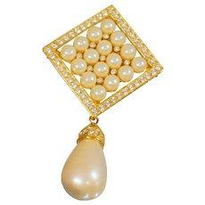 Vintage Joan Rivers Dangling Teardrop Pearl Brooch Pendant. Gold Rhinestone Diamond Shaped Pin and Pendant by Joan Rivers.