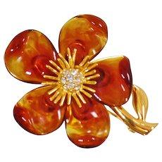 Vintage Joan Rivers Amber Flower Brooch. Lucite Rhinestone Flower Vintage Pin by Joan Rivers.