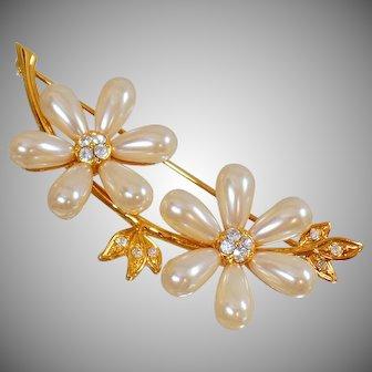Vintage Joan Rivers Teardrop Two Blossom Pearl Brooch. Gold Rhinestone Two Flower Teardrop Pearl Pin by Joan Rivers.