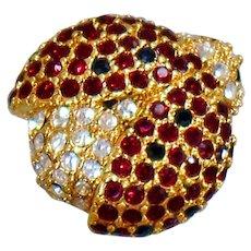 Vintage Monet Rhinestone Ladybug Brooch. Red Clear Rhinestone Ladybug Pin. Gold Lady Bug Brooch by Monet.