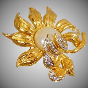 Vintage Joan Rivers Large Rhinestone Sunflower Pearl Brooch. Gold Rhinestone Mabe Pearl Sun Flower Pin by Joan Rivers.
