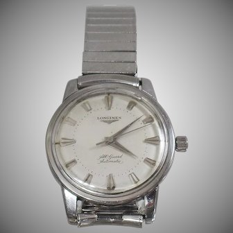 Vintage Longines 1956 All Guard Automatic Men's Watch. Stainless Steel Longines Watch.