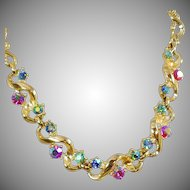Vintage Colorful AB Rhinestone Choker Necklace. 1950s. Bold Gold Rhinestone Prom Choker Necklace.