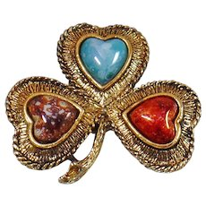 Vintage Natural Stone Shamrock Brooch. Agate and Glass Stones Lucky Clover Pin. Irish Shamrock Brooch.