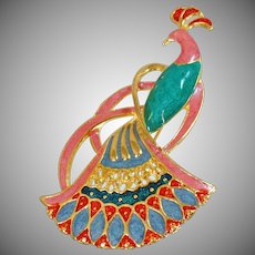 Vintage Pink Peacock Brooch. Pink Green Blue Red Gold Enamel Bird Pin.