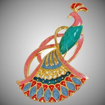 Vintage Pink Peacock Brooch. Pink Green Blue Red Gold Enamel Bird Pin.