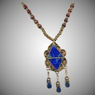 Vintage Blue Lapis Lazuli Necklace. Silver Ornate Handmade Necklace. Egyptian Revival. Middle Eastern.