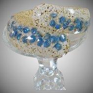 Vintage Confetti Lucite Bypass Clamper Bracelet. Baby Blue Seashells. 1950s Silver White Glitter Bracelet.