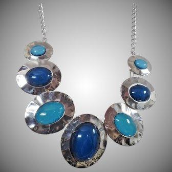 Vintage Mod Silver Blue Disc Necklace. Dark Blue and Turquoise Aqua Blue Large Disc Silver Necklace.