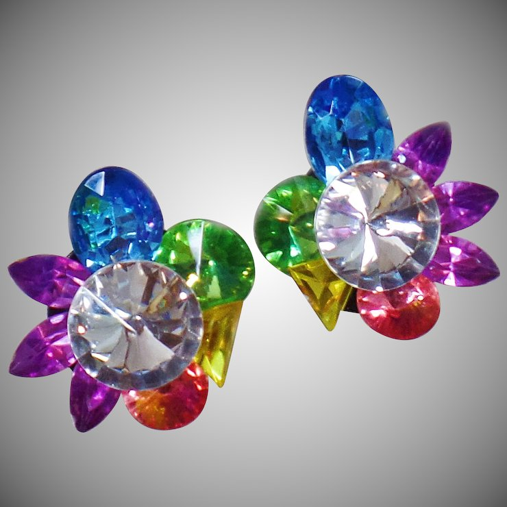 Vintage Huge Rainbow Rhinestone Earrings Large Blue Purple Green Yellow