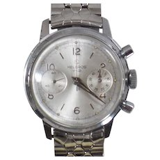 Vintage Helbros 1960s Chronograph French Made Rare Men's Watch. Stainless Steel Rare Helbros Men's Watch.