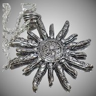 Vintage Silver Rhinestone Sun Necklace. Large Silver Rhinestone Sun Necklace. Abstract Sun Silver Rope Necklace.