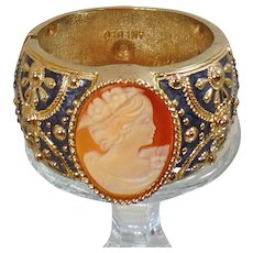 Vintage Amedeo Genuine Cameo Bracelet. Gold Plated Natural Shell Carved Cameo Clamper Bracelet by Amedeo.