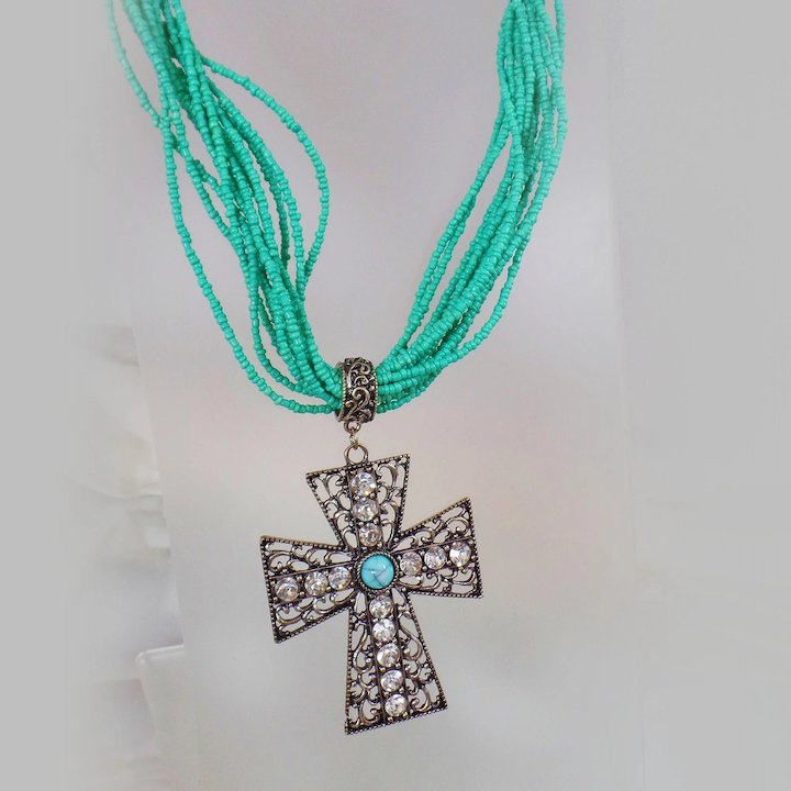 Vintage turquoise blue byzantine cross necklace glass turquoise vintage turquoise blue byzantine cross necklace glass turquoise bead torsade and blue and clear rhinestone mozeypictures Image collections