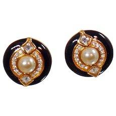 Vintage Black Gold Swarovski Rhinestone Earrings. Bold Gold Plated Pearl Earrings. Black Enamel and Rhinestone Swarovski Clip Earrings