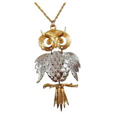 Vintage Large Silver and Gold Articulated Owl Pendant Necklace. 1970s Large Articulated Owl Necklace. Bird Necklace.