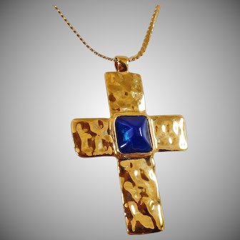 Vintage Dell'Olio Hammered Gold Cross Necklace. Large Linea Blue and Green Reversible Hammered Gold Cross Pendant Necklace.