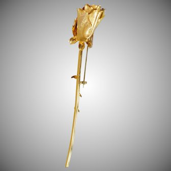 Vintage Long Stem Gold Rose Brooch. Large Gold Long Stem Rose Bud Pin.