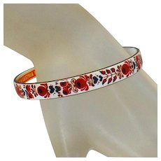 Vintage Austrian Hand Painted Cloisonne Bracelet. Signed Made in Austria. White and Red Floral Handpainted Cloisonne Bangle.