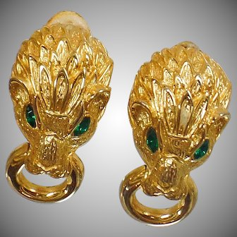 Vintage Rare Les Bernard Lion Earrings. Gold Les Bernard Door Knocker Earrings. Lion Feline Cat Designer Earrings.