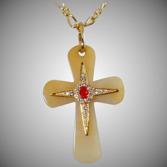 Vintage Jadeite and Spinel Cross Necklace. Large Cream Jade Cross with Spinels and Simulated Ruby Necklace.
